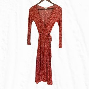 Max Mara Red Dotted Long Sleeve Wrap Dress Size 8